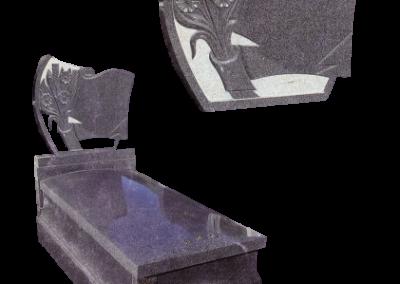 Lápida y frente de lápida con grabado